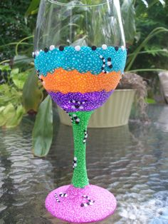 Polymer Clay  Wineglass 14 oz  Let the by FlowertownOriginals, $24.00