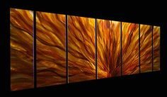 Metal Home Decor Modern Metal Abstract Wall Art Painting Fall Plumage / By Statements2000