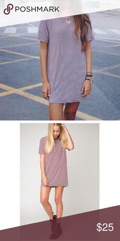 """Brandy Melville maroon oversized tshirt dress Totally essential above knee length oversized fit tee in burgundy and white stripes. Loose and relaxed fit, ribbed crew neckline, runs slightly longer in the back. Soft and slightly stretch fabric. This can also be worn as a shirtdress. 94% rayon 6% spandex  33"""" length, 19"""" bust Brandy Melville Dresses"""