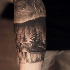Awesome realism tree/landscape tattoo