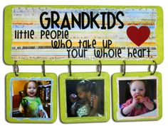 display board with three hanging boards, paint and vinyl. Makes a great gift for Grandparents from the grand kids.