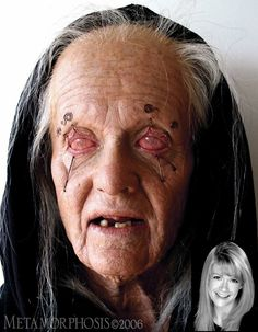 In order to age this Oracle, I used a one-piece foam latex prosthetic, lifts to pull the eyes down, airbrushing, sclera contacts, wig and dentures.