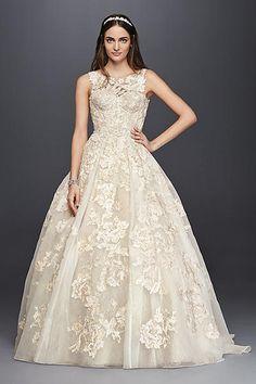 Oleg Cassini Tank Lace Beaded Wedding Dress 4XLCWG658