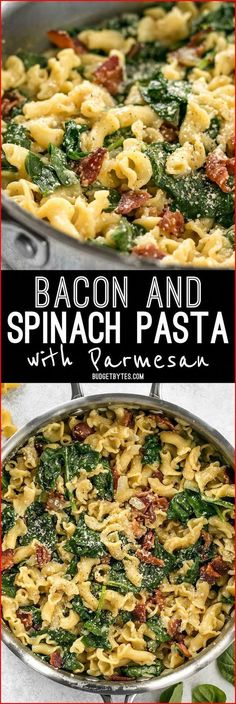 and Spinach Pasta with Parmesan is a quick and flavorful weeknight dinner that only requires a few ingredients.Bacon and Spinach Pasta with Parmesan is a quick and flavorful weeknight dinner that only requires a few ingredients. Healthy Dinner Recipes, Cooking Recipes, Budget Cooking, Food Budget, Dinner Recipes For Two On A Budget, Cheap Dinner Ideas, Delicious Recipes, Cheap Recipe For Dinner, Cheap Meals For Dinner