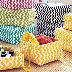 "Love these cute chevron baskets for stashing the ""uncute"" stuff. :) Land of Nod- Chevron Baskets Storage Sets, Kids Storage, Toy Storage, Storage Containers, Storage Boxes, Closet Storage, Yellow Storage, Diaper Storage, Playroom Storage"