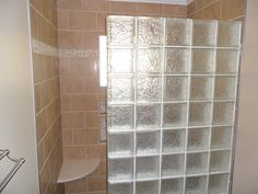 Walk in Tiled Shower with Glass Block wall Glass Blocks Wall, Block Wall, Basement Bathroom, Master Bathroom, Glass Block Shower, Tile Projects, Bathrooms, Bathroom Showers, Bathroom Ideas