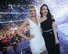 Hosts Beth Behrs and Kat Dennings