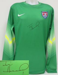 tim howard signed usa soccer authentic nike green goalie keeper jersey jsa itp sports integrity