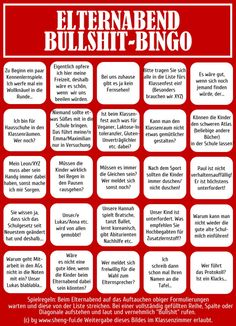 Bullshit-Bingo-Elternabend Haha just in case. Bingo, Satire, Jokes Quotes, Funny Quotes, Focus Online, Framed Words, Funny Pins, Funny Stuff, Random Stuff