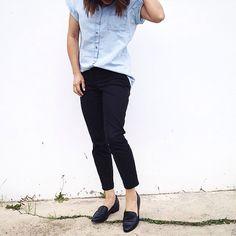 Black and chambray shirt