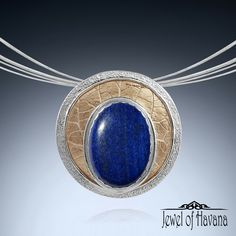 New! Fine Silver Lapis Lazuli in Circles Slide Pendant   Large statement piece with layered textures and bright natural lapis stone.  Available on the website at http://www.jewelofhavana.com/store/c73/HandmadeNaturalStoneJewelry