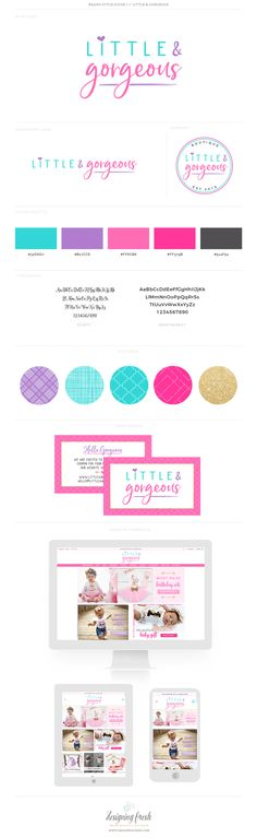 Bright and fun branding and logo design for Little & Gorgeous! We love the teal, purple and hot pink color palette and branding! The boutique packaging is adorable and custom too!