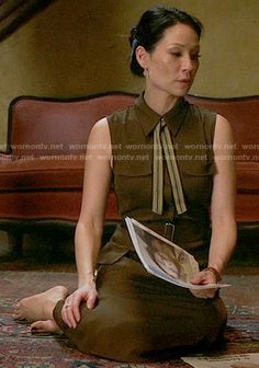 Joan's brown midi shirtdress on Elementary. Outfit Details: https://wornontv.net/55934/ #Elementary