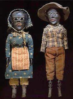 Two carved Folk Art Dolls. American Folk Art