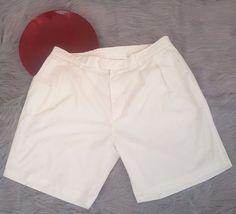 Pro Celebrity Mens Golf Shorts Size 42 White Pleated Elastic Waist o924 #ProCelebrity