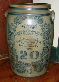 24in tall. JAS. HAMILTON GREENSBORO, PA. 20 GAL. DECORATED STONEWARE CROCK w/ ROSES