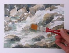 Birgit O'Connor Watercolor: How to Paint Moving Water in Watercolor Watercolor Video, Watercolor Water, Watercolor Painting Techniques, Watercolour Tutorials, Painting Lessons, Watercolor Landscape, Art Lessons, Painting & Drawing, Watercolor Paintings