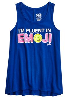 Emoji Graphic Tank (original price, available at Justice Pjs, Justice Emoji, Justice Store, Kids Outfits, Cool Outfits, Summer Outfits, Justice Clothing, Just Girl Things, I Love Girls