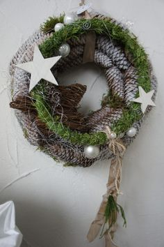 "Door wreaths - reserved f.- Türkränze – reserviert f."" – ein Designerstück … Door wreaths – reserved f."" – a unique product by Troedelliebelei on DaWanda - Wreaths And Garlands, Holiday Wreaths, Door Wreaths, Holiday Decor, Rustic Christmas, Christmas Time, Art Floral Noel, Diy And Crafts, Christmas Crafts"