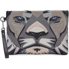 Liebeskind Berlin Lion Face Leather Wristlet ($198) ❤ liked on Polyvore featuring bags, handbags, clutches, nairobi black, real leather handbags, leather purses, leather wristlet, 100 leather handbags and leather handbags