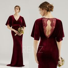 Bridesmaid Dress Burgundy Velvet Party Dress Half Flare Sleeves Sheath Prom Dress Illusion Lace Back Mermaid Formal Dress with Train (HV945) Burgundy Bridesmaid Dresses, Prom Dresses, Formal Dresses, Velvet Color, Illusion Dress, Different Dresses, Lace Back, 34c, Sequin Dress