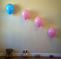 Gender reveal pic. Never seen this before. Hope if we get a second child balloon it's blue...