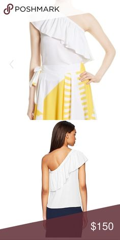 Milly One Shoulder Silk top Arriving 3/14 Milly lightweight stretch-silk top. Asymmetric ruffled one-shoulder neckline. Sleeveless at left; cap sleeve at right. Relaxed, flowy silhouette. Silk/spandex blend Will update with measurements on arrival Milly Tops Blouses