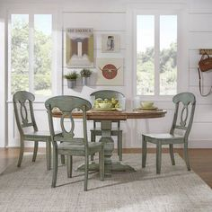 Weston Home 5 pc 60 inch Oval Dining Set, with Oak and Dark Sea Green Table and Dark Sea Green Napoleon Back Chairs