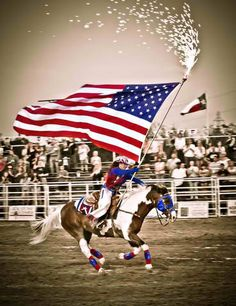 Rodeo's Tribute To America Cowgirl And Horse, My Horse, Cowboy Art, Patriotic Pictures, Trick Riding, Western Riding, Western Tack, American Paint, American Flag
