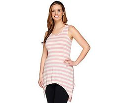 LOGO by Lori Goldstein Petite Striped Sharkbite Hem Slub Knit Tank