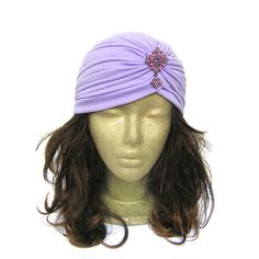 Glamorous vintage style turban hat with pink rhinestone embellishment, perfect for Great Gatsby, Downton Abbey, Old Hollywood themed party or art