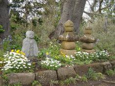 Gorinto Gravestones and Jizo Bosatsu  Protectors along trail in Kamakura  Kinubariyama Hiking Course