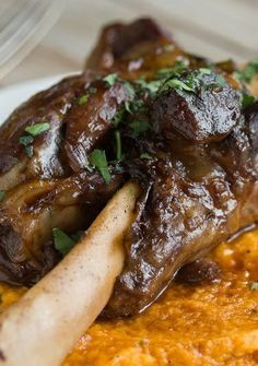 BRAISED LAMB SHANK & ROOT VEGETABLE PUREE ~~~ the puree is a mix of carrot, sweet potato, and parsnips http://www.thekitchn.com/recipe-braised-lamb-shanks-root-vegetable-puree-165869 [thekitchn]