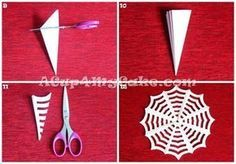 DIY: How to Make a Paper Spider Web. The easiest and cheapest Halloween handcraft! Check the original post to see the whole illustrated step-by-step tutorial.