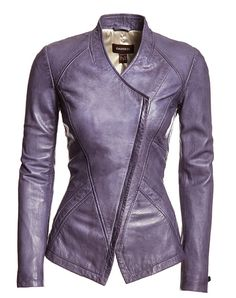 A fashion look from April 2013 featuring white cotton shirt, genuine leather jackets and purple leather purse. Browse and shop related looks. Chic Outfits, Fashion Outfits, Fashion Trends, Mode Rock, Purple Blazers, Stylish Jackets, Jackets For Women, Clothes For Women, Look Fashion