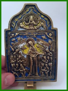 Russia orthodox bronze icon Virgin The Joy All that Mourn. Enameled.