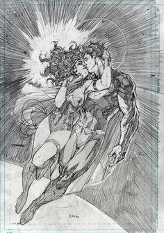 Jim Lee pencil, Wonder Woman and Superman