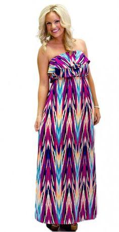 Ikat-ching Ruffle Maxi Dress - HipSway