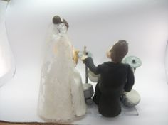 #Wedding Cake topper.   This is an example of a custom made Wedding Cake topper that I created,Drummer #groom and saxophonist #bride . I can customize the dress and tux just... #wedding #marroriage #marriage
