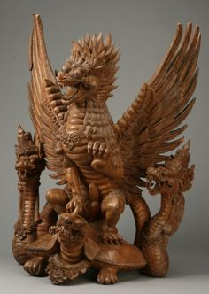 Intricately carved Indonesian sculpture
