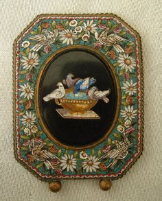 STUNNING QUALITY ITALIAN MICRO MOSAIC PICTURE FRAME DOVES OF PLINY BIRD BROOCH ?