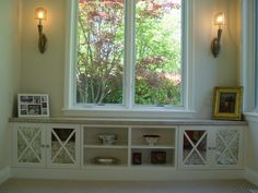 Window bench with built-in decorative storage shelves