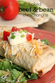 Baked Beef and Bean Chimichangas on SixSistersStuff.com