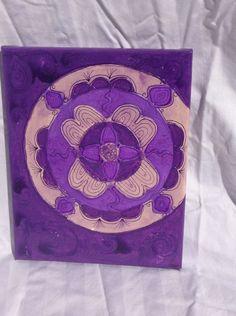 "Purple Mandala 8x10"" Glue and acrylic on canvas"