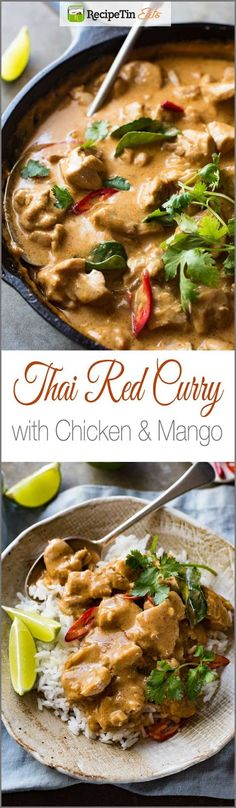 Thai Mango Chicken Curry- Mango Thai Red Curry with Chicken – Restaurant quality, extra saucy, thick and creamy, less calories, this Thai Red Curry is truly incredible. Thai Recipes, Indian Food Recipes, Asian Recipes, Chicken Recipes, Dinner Recipes, Cooking Recipes, Healthy Recipes, Soup Recipes, Juicer Recipes