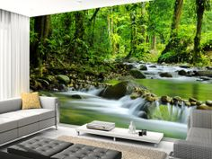 Install this relaxing Beautiful Mountain Stream wallpaper in your home. Wall Murals Bedroom, Living Room Murals, 3d Wall Murals, Floor Murals, Wallpaper Pictures, Home Wallpaper, Custom Wallpaper, Garden Mural, Room Partition Designs