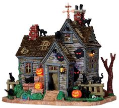 vickis, cattery, cats, haunted house by Lemax Collections