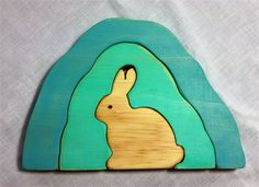 Wooden Bunny Cave Stacker Puzzle- waldorf, steiner | Folkwood | madeit.com.au