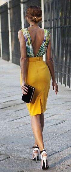 Green Floral V-Back top, Mustard Pencil Skirt, Black Clutch, Black And White…