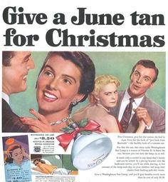 Retro Xmas Ad - Give a June Tan for Christmas vintage advertisement christmas suntan fake tan old ad vintage ad